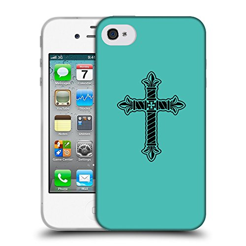 GoGoMobile Coque de Protection TPU Silicone Case pour // Q07960634 Christian Cross 21 Turquoise // Apple iPhone 4 4S 4G