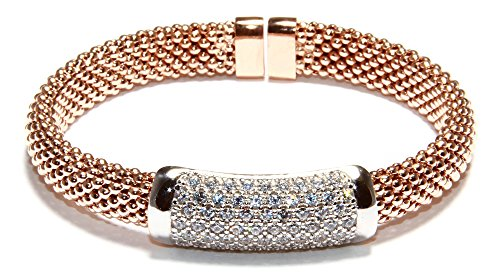"Expo Collection Sterling Silver Cubic Zirconia Bar Faceted Flexible Diamond-Cut Mesh Cuff Bracelet 6.25"" (Rose Gold)"