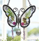 Sister Butterfly Suncatcher Wind Chime with Pressed Flower Wings Embedded in Glass with Metal Trim Sister Heart Charm - Gifts for Sister -Sister for birthdays Christmas (4.254.25-S)