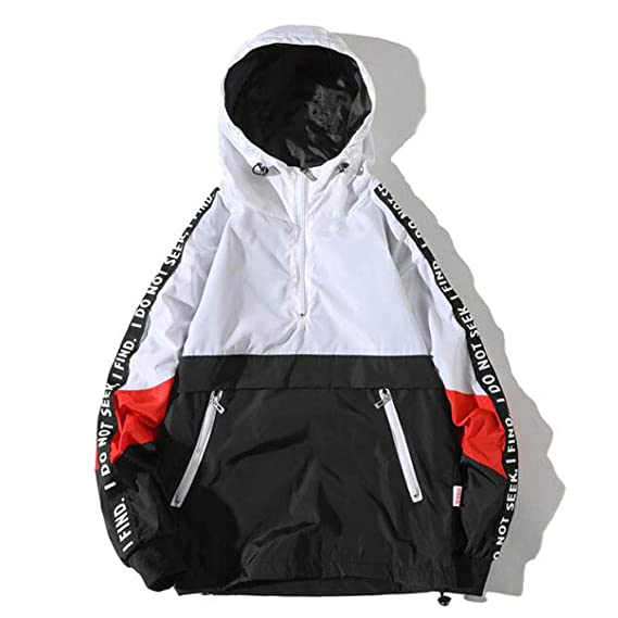 Men & # 39; s Fashion Casual Warm Colour Block maniche lunghe con cappuccio (Taglia 4XL) Nero + Bianco