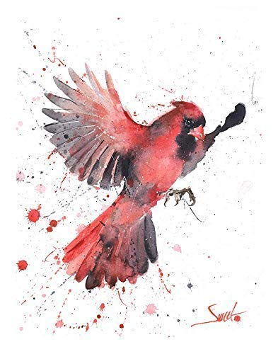 Watercolor Flying Cardinal Print, Cardinal Painting, Cardinal Decor, Cardinal Wall Art, Cardinal Gifts