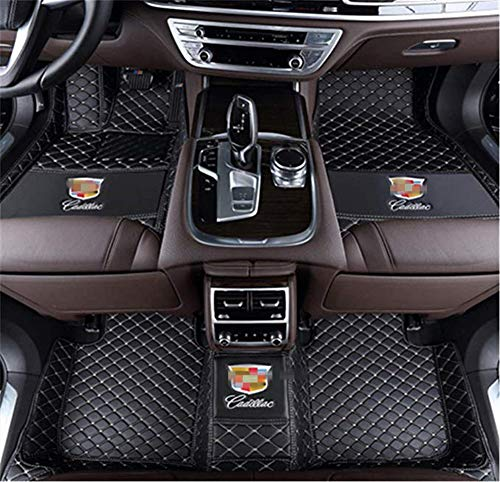 Custom Fit XPE Leather 3D Full Surrounded Waterproof Car Floor Mats for Cadillac ATS CTS CT6 SRX XT5 XTS Waterproof Non-Slip Carpets (Black)