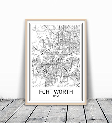 Fort Worth Poster, Fort Worth Map, City Map Posters, Fort Worth, Texas Map Wall Art, Black and White Map, Modern Map Art, Minimalist Poster, Scandinavian Poster, Fort Worth Art, 8x10 inch - Fort Worth Map