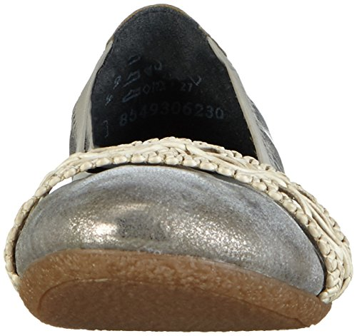 Rieker 41469 Women Closed Toe, Women's Closed Ballerinas Grey - Grau (Grey/Offwhite / 40)
