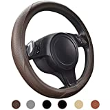 Ylife Microfiber Leather Car Steering Wheel Cover, Universal 15 inch Breathable Anti Slip Auto Steering Wheel Covers, Coffee