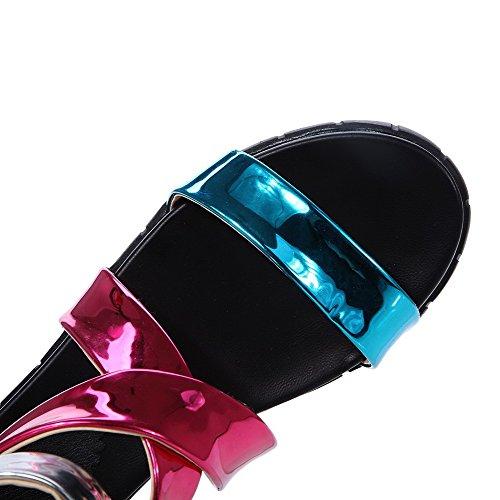 Femmes Sandales Bas Rouges Agoolar Solide Talons Éclair Fermeture Pu Bout Ouvert g4n0dq