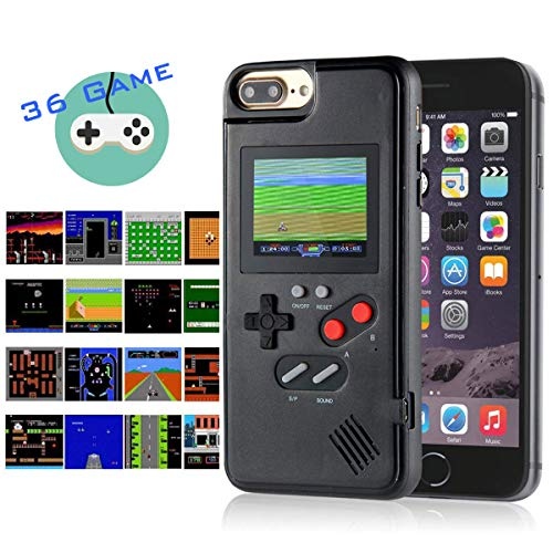Gameboy iPhone Case Handheld Game Console Case Protective Cover, AISALL Gameboy Phone Case for iPhone 6/7/8 Plus iPhone X XR XS Max with 36 Classic Retro Games & Full Color (Black, iPhone 6/7/8 Plus) (Best Games In Iphone 7 Plus)