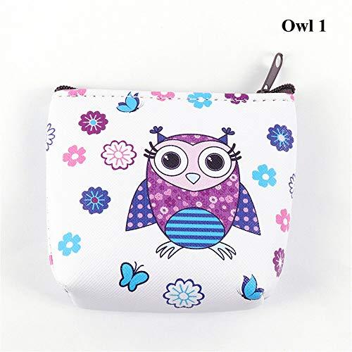 Holder Unicorn Coin Purse Flamingo Mini Wallet Earphone Package Women Handbag (size - Owl 1)]()