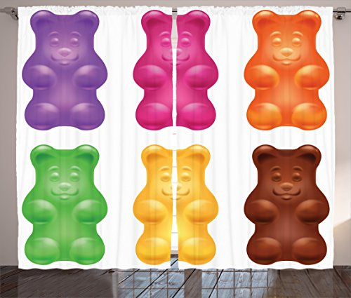 Ambesonne Children Curtains, Colorful Jelly Gummy Bears Swee