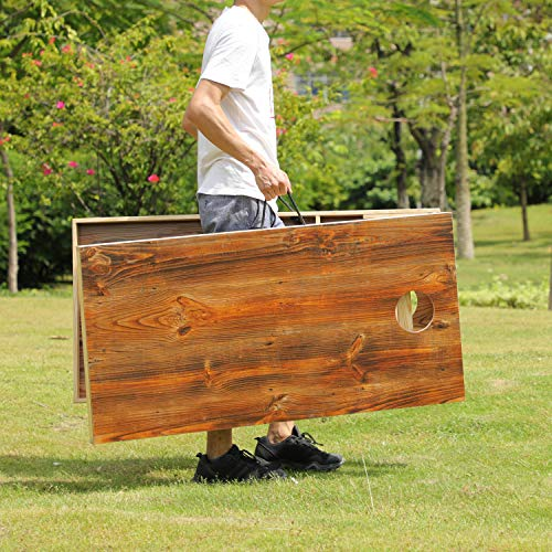 OOFIT Cornhole Set Solid Wood Cornhole Set, Premium 2'X 4' Official Size Bean Bag Toss Game Set Durable Printed Surface Underneath, Portable Regulation Cornhole Bean Bag Toss Gam, Regulation: 2 x 4'