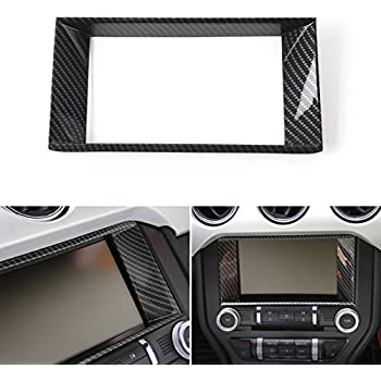 3pcs Carbon Fiber Navigation GPS Screen CD Panel Trim For Ford Mustang 2015-2017