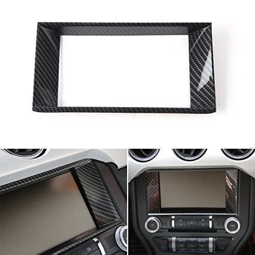 Car Center Console Multimedia Control Panel 8-inch Screen Frame Cover Decoration Ring Trim for Ford Mustang 2015 2016 ()