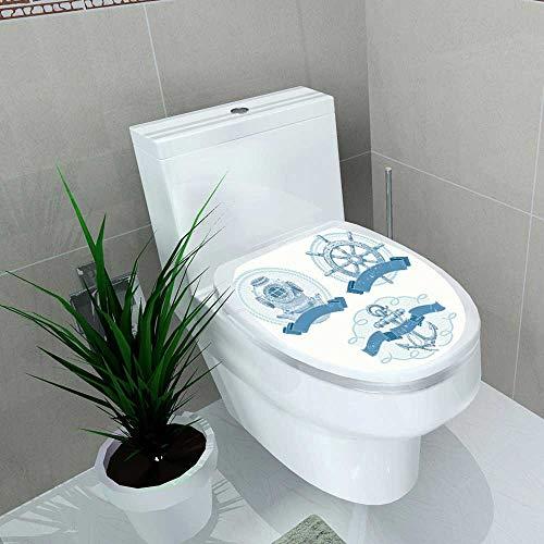 Bathroom Toilet seat Sticker Decal Nautical Vector Emblems Drawn Elements div Helmet Ship Decal Sticker Vinyl W8 x ()