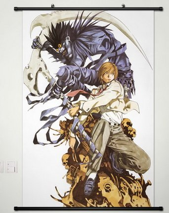 Death Note Wall Scroll Poster Fabric Painting For Anime Yagami Light & Ryuuku 012 S