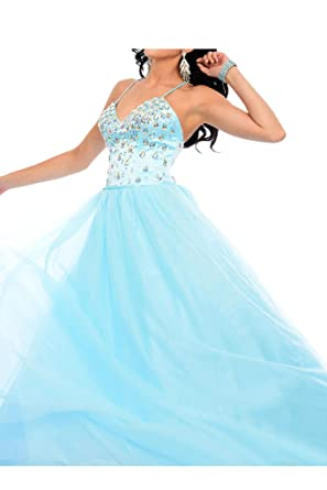 La Mariee Ball-Gown V-neck Floor-Length Tulle Prom Dress With Beading