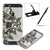 Clear Case for iPhone SE,TPU Case for iPhone 5S,Herzzer Fashion [Retro Flower Pattern] Soft Silicone Gel Bumper Cover Flexible Transparent Skin Case for iPhone SE/iPhone 5/5S + 1 x Free Black Cellphone Kickstand + 1 x Free Black Stylus Pen