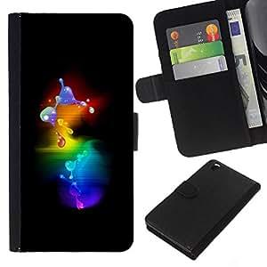 KLONGSHOP // Tirón de la caja Cartera de cuero con ranuras para tarjetas - 3D Molécula Burbujas minimalista - HTC DESIRE 816 //
