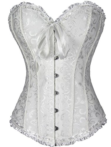 Senchanting Women's Satin Lace up Overbust Corset Bustier Plus Size + G-string (White, S)