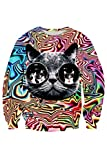 Cutiefox Cats Shell Printing Round Neck Sweater Sweatshirt Sunglasses Cat Size S