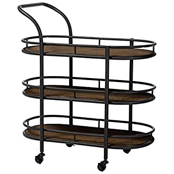 Image of Baxton Studio Karlin Rustic Industrial Style Antique Textured Metal Distressed Wood Mobile Kitchen Bar Serving Wine Cart, Black Home and Kitchen
