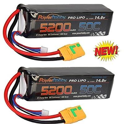Powerhobby 4s 14.8V 5200mah 50c Lipo Baterry w XT90 Plug 4-Cell(2 Pack) : Arrma Kraton Nero Tyhpon Senton Tailon Outcast FAZON: Toys & Games