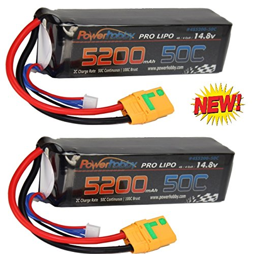 Full Scale High End - Powerhobby 4s 14.8V 5200mah 50c Lipo Baterry w XT90 Plug 4-Cell(2 Pack) : Arrma Kraton Nero Tyhpon Senton Tailon Outcast FAZON