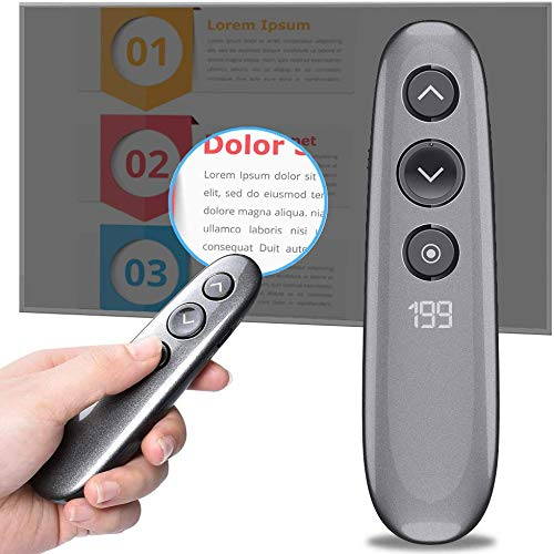 Tripsky H100 Presentation Remote RF 2.4GHz Wireless Presenter Clicker for PowerPoint USB Spotlight Presentation PPT Clicker Highlighting Magnifier...
