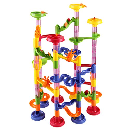 ENJSD Marble Run Set, 105 PCS Marble Race Track Toy for Kids, Construction Building Blocks Stem Toys Game for 4-9 Year Old Kids(75 Complete Pieces+30 PCS Glass Marbles + Installation Manual)]()