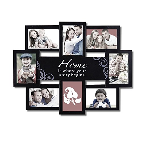adeco decorative black plastic home wall hanging collage picture photo frame 4 x 6 inch