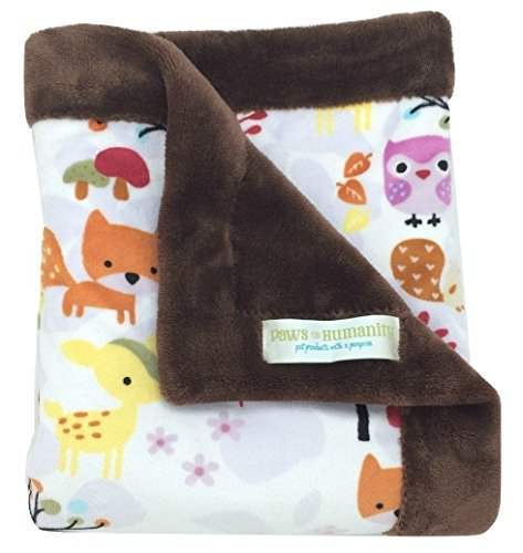 - Paws For Humanity Woodland Creatures Minky Blanket for Dogs ~ Cuddly Small Double Thickness 26