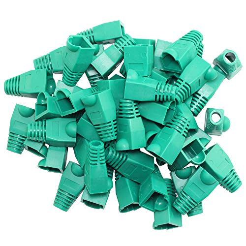 RuiLing 100PCS Green CAT5E CAT6 RJ45 Ethernet Network Cable Strain Relief Boots Cable Connector Plug Cover ()
