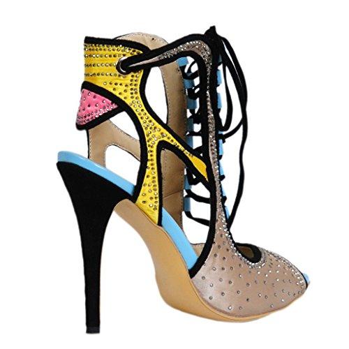 Sko Krystal Imitation Sandaler Platform Høje Hæle Pumpe Forår Kvinder Diamant Domstol Lyse Kaitzen Aftenselskab Ankel Sommer Mode U5qxIY
