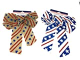 Hobeez Patriotic Burlap Red, White and Blue Stars and Stripes Set of 2 Bows (1 brown, 1 white)