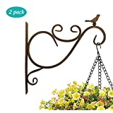 Lewondr Wall Hanging Plants Bracket, 2 Pieces Retro Bird Wrought Iron Hanging Flower Hooks Rack Wall Bracket for Plant Basket Lanterns with Screws, Garden Balcony Outdoor Décor