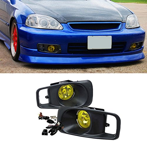 VioGi Fit 99-00 Honda Civic Yellow Lens Fog Lights Kit w/ Bulbs+Cover+Switch+Wiring Harness+Relay+Bracket+Necessary Mounting Hardware (Fog Relay Honda Light)