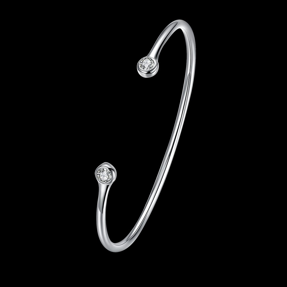 Greendou Fashion Jewelry 925 Sterling Silver Plated Double Zircon Open Cuff Bangle Bracelet for Women and Girls