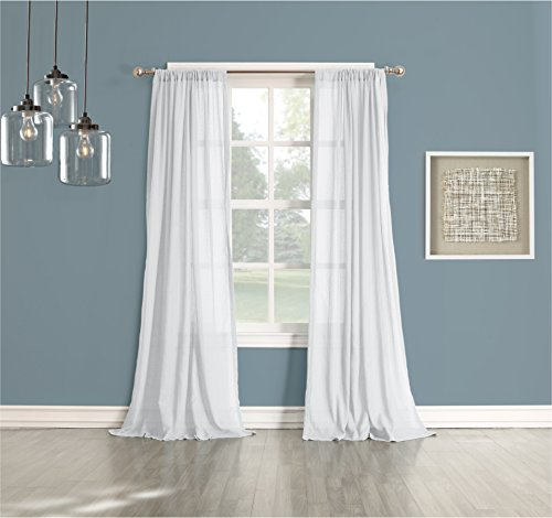 No. 918 Cory Cotton Gauze Texture Semi Sheer Curtain Panel, 50″ x 95″, White