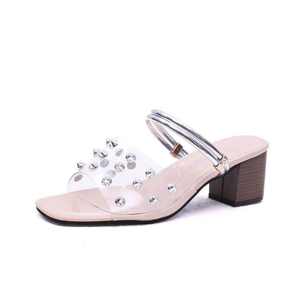 Frauen Frauen Frauen Sandalen PVC 2018 Neue Sommer Club Schuhe Sandalen Chunky Heel Nieten Transparent Für Party & Abend/Kleid Ein ed26cf