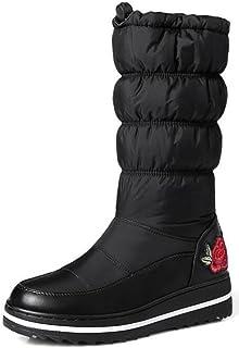 Women's Warm Mid Wedge Heels Platform Mid Calf Snow Boots Down Booties With Flowers