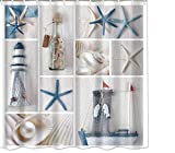 """OMIWO Mildew Resistant Digital Printed Fabric Shower Curtain 72""""x72"""" Waterproof and Mold Proof Shower Curtain Digital Printed Sea and Anchor (710550)"""