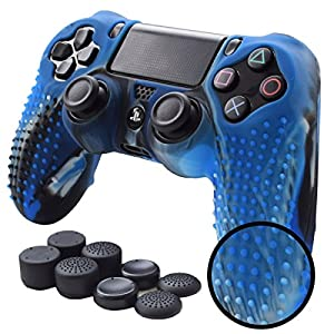 Pandaren PS4 Controller Skin STUDDED Anti-slip Silicone PS4 Controller Cover Set for PS4 /SLIM /PRO controller(CamouBlue controller skin x 1 + FPS PRO Thumb Grips x 8)