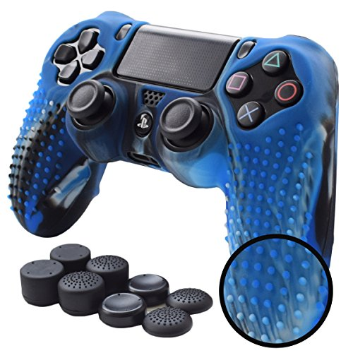 Pandaren PS4 Controller Skin STUDDED Anti-slip Silicone PS4 Controller Cover Set for PS4 /SLIM /PRO controller(CamouBlue controller skin x 1 + FPS PRO Thumb Grips x 8) ()