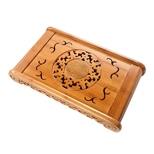 - Tea Talent Reservoir & Drainage Type Bamboo Tea Tray - Japanese / Chinese Gongfu Tea Table Serving Tray Box for Kungfu Tea Set 19.5 x 11.4 x 2.7 Inch, Natural Color