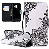 LEECOCO Case for Samsung Galaxy A8 2018 Fancy Printing Wallet Case with Card Cash Slots Wrist Strap [Kickstand] PU Leather Folio Flip Protective Case Cover for Samsung Galaxy A5 2018 Black Lace HX