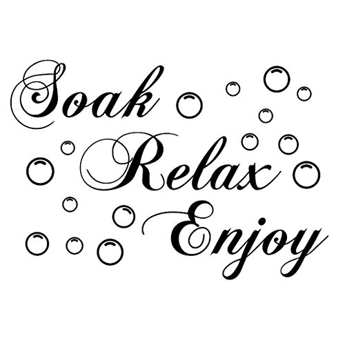 DZT1968(TM 2015 Removable Words Soak Relax Enjoy Bathroom Background Wall Sticker - Sticker Wall Words