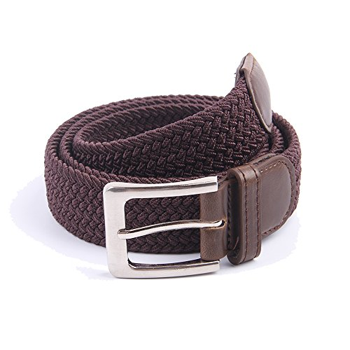 (Canvas Elastic Fabric Woven Stretch Braided Belts Solid Color 2044-Coffee-XL)