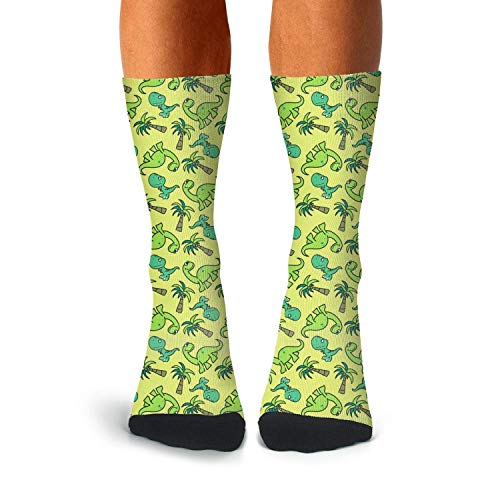 Men's Cute Dinosaur Seamless Pattern compression sweat-absorbent crazy socks hockey seamless calf ()