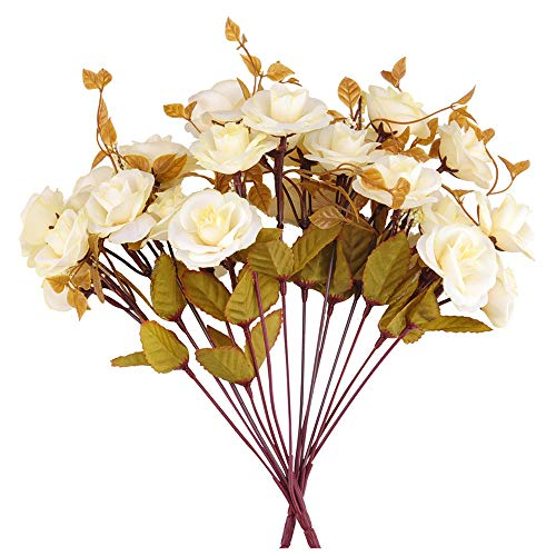Artificial Silk Rose Flower Bouquets, Fake Flower Arrangement 7 Branch 14 Heads for Wedding Party Home Decoration Office Restaurant, Pack of 2