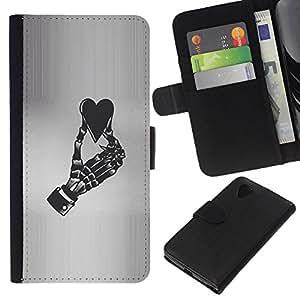 Leather Etui en cuir || LG Nexus 5 D820 D821 || Corazón Gris Negro Blanco Esqueleto @XPTECH