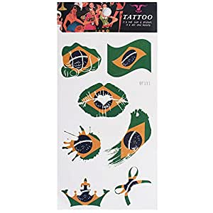 Russia 2018 World Cup National Flag Tattoo Sticker Temporary Tattoo Body Face Sticker Flags - Brazil